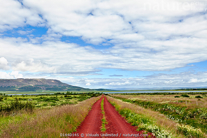 Red gravel road through the volcanic landscape of Iceland  ,  CLOUDS,EUROPE,ICELAND,LANDSCAPES,ROADS,SKIES,SOIL,VOLCANIC,Weather  ,  Visuals Unlimited