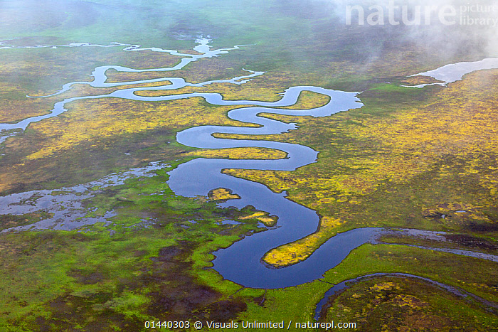Aerial view of meandering river, Alaska, USA  ,  AERIALS,CLOUDS,HABITAT,LANDSCAPES,NORTH AMERICA,RIVERS,TUNDRA,USA,Weather  ,  Visuals Unlimited