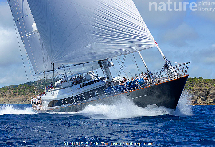 Superyacht competing in Antigua Superyacht Challenge 2013. All non-editorial uses must be cleared individually., ANTIGUA,BOATS,CARIBBEAN,RACES,SAILING BOATS,SUPERYACHTS,YACHTS,BLUEGREEN,THE CARIBBEAN, Rick  Tomlinson
