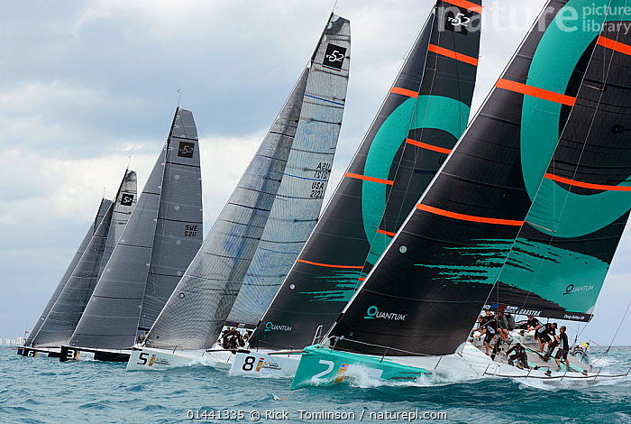 Day 2 of the Gaastra TP52 World Championships, 2 races sailed. TP52 'Quantum', 'Gaastra', 'Ran', 'Interlodge' and 'Azzura'. Miami, March 6th 2013. All non-editorial uses must be cleared individually., BOATS,RACES,SAILING BOATS,BLUEGREEN,NORTH AMERICA,USA,SOUTHERN USA,SOUTHEAST US,FLORIDA,MIAMI,PROFILE,BOAT,BOATS,SAIL,BOAT PARTS,BOAT PART,PROCEDURES, Rick  Tomlinson