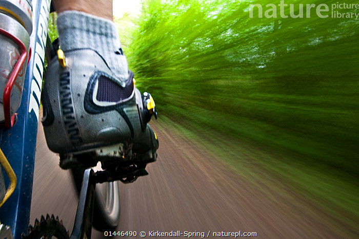 Close up on mountain biker's foot pedalling, in Cascade foothills, Washington, USA. April 2013. Model released.  ,  catalogue6,Cycling,Biking,Pedaling,Mountain Biking,Leisure,Outdoor Pursuit,People,Cyclist,Bicyclist,Bicyclists,Cyclists,Motion,Active,Movement,On The Move,Speed,1 Person,Single,Single Person,Americas,North America,USA,Western USA,Washington,Close Up,Rear View,Back,From Behind,Photographic Effect,Blurred Motion,Blurred Movement,Feet,Foot,Clothing,Footwear,Shoe,Shoes,Road,Mode Of Transport,Land Vehicle,Cycle,Bicycle,Mountain Bike,Mountain Bikes,Outdoors,Open Air,Outside,Day,Moving,Cascade Foothills  ,  Kirkendall-Spring