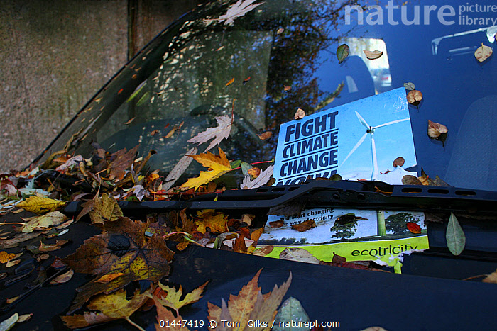 Fight Climate Change fly poster under windscreen wiper  ,  EUROPE,WESTERN EUROPE,WEST EUROPE,UK,BRITAIN,GREAT BRITAIN,UNITE,United Kingdom  ,  Tom  Gilks