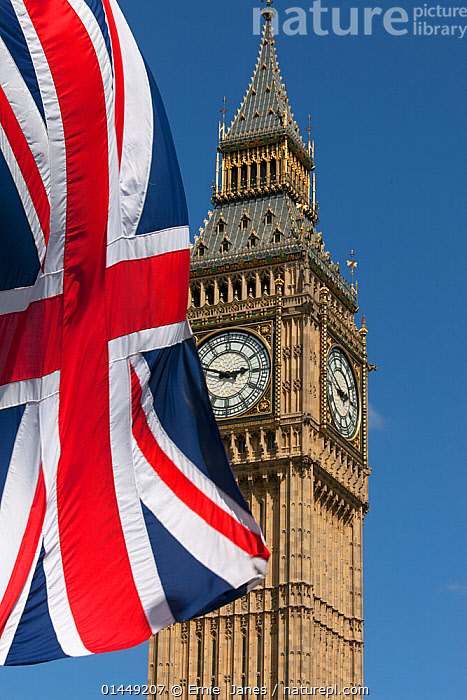 Big Ben and Union Jack Flag, Westminster, London, England, UK, June 2013.  ,  catalogue6,Patriotism,Patriotic,Time,Ornate,Decorative,Ornamental,Colour,Red,Famous Place,Landmark,No One,Nobody,Styles,Architectural Styles,Gothic Style,Gothic,Europe,Western Europe,UK,Great Britain,England,London,Greater London,Inner London,Westminster,Close Up,Object,Equipment,Measures,Clocks,Flag,Country Flag,National Flag,Uk Flag,British Flag,British Flags,Uk Flags,Union Jack,Union Flag,Union Flags,Union Jacks,Building,Government Building,Government Buildings,Government Built Work,Legislative Building,Legislative Buildings,Parliament Building,Parliament Buildings,Palace Of Westminster,Houses Of Parliament,The Houses Of Parliament,The Palace Of Westminster,Sky,Outdoors,Open Air,Outside,Day,Architecture,Blue sky,United Kingdom  ,  Ernie  Janes