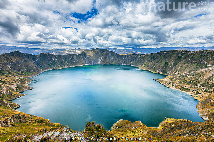 Quilota Crater Lake, Cotopaxi Province, Ecuador, September 2010., catalogue6,Colour,Blue,Turquoise,Aqua,Aqua Blue,Torquoise,No One,Nobody,Latin America,South America,Ecuador,Horizontal,High Angle View,Craters,Volcanic Craters,Mountain,Sky,Cloud,Landscape,Landscapes,Outdoors,Open Air,Outside,Day,Travel,Place Of Interest,Travel Destinations,Freshwater,Lake,Andes,Geology,Geothermal,Tropical andes,Biodiversity hotspot,Biodiversity hotspots,Elevated view,Expansive,Vast,Quilota Crater Lake,Crater Lake,Cotapaxi,Wonder,Spectacular,, Guy Edwardes