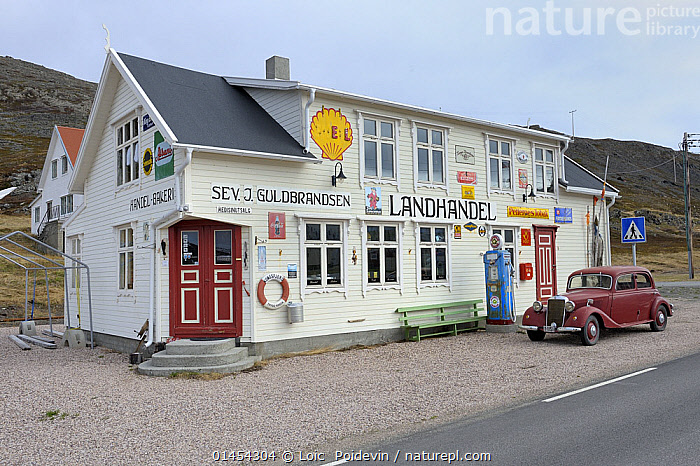 Former station with old car, Varanger, Norway, May.  ,  EUROPE,NORTHERN EUROPE,NORTH EUROPE,NORDIC COUNTRIES,SCANDINAVIA,SKANDINAVIA,NORWAY,BUILDINGS,MODE OF TRANSPORT,VEHICLE,VEHICLES,LAND VEHICLE,LAND VEHICLES,MOTOR VEHICLE,AUTOMOTIVE,MOTORIZED LAND VEHICLES,CAR,AUTO,AUTOMOBILE,AUTOMOBILES,AUTOS,CARS,COLLECTOR'S CAR,CLASSIC AUTOMOBILE,CLASSIC AUTOMOBILES,CLASSIC CAR,CLASSIC CARS,COLLECTOR'S CARS,COLLECTORS CAR,COLLECTORS CARS,OLDTIMER,VINTAGE AUTOMOBILE,VINTAGE AUTOMOBILES,VINTAGE CAR,VINTAGE CARS  ,  Loic  Poidevin