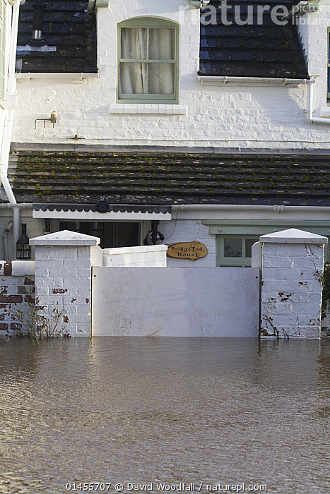 House with flood gate during the February 2014 floods, Upton upon Severn, Worcestershire, England, UK, 9th February 2014., EUROPE,WESTERN EUROPE,WEST EUROPE,UK,BRITAIN,GREAT BRITAIN,UNITED KINGDOM,ENGLAND,WORCESTERSHIRE,BUILDINGS,HOUSES,FLOODED,FLOODING,FLOODS,FLOODWATER,FLOODWATERS,WATER,WEATHER,ENVIRONMENT,ENVIRONMENTAL ISSUES,ENVIRONMENTAL ISSUE,GLOBAL WARMING,GREENHOUSE EFFECT,CLIMATE CHANGE, David  Woodfall
