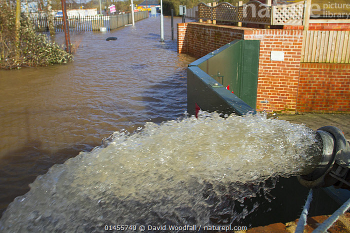Flood-water being pumped out of property by Environment Agency, during February 2014 floods, Upton upon Severn, Worcestershire, England, UK, 8th February 2014.  ,  EUROPE,WESTERN EUROPE,WEST EUROPE,UK,BRITAIN,GREAT BRITAIN,UNITED KINGDOM,ENGLAND,WORCESTERSHIRE,EQUIPMENT,PUMP,PUMPS,WATER PUMP,WATER PUMPS,FLOODED,FLOODING,FLOODS,FLOODWATER,FLOODWATERS,WATER,WEATHER,ENVIRONMENT,ENVIRONMENTAL ISSUES,ENVIRONMENTAL ISSUE,GLOBAL WARMING,GREENHOUSE EFFECT,CLIMATE CHANGE  ,  David  Woodfall