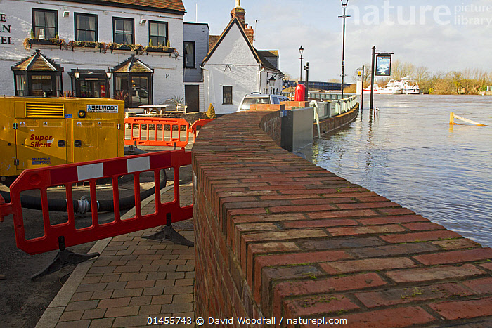 Brick flood protection barrier built following 2007 floods, taken during the February 2014 flooding, Upton upon Severn, Worcestershire, England, UK, 8th February 2014., EUROPE,WESTERN EUROPE,WEST EUROPE,UK,BRITAIN,GREAT BRITAIN,UNITED KINGDOM,ENGLAND,WORCESTERSHIRE,SETTLEMENT,SETTLEMENTS,TOWNS,FLOODED,FLOODING,FLOODS,FLOODWATER,FLOODWATERS,WATER,WEATHER,ENVIRONMENT,ENVIRONMENTAL ISSUES,ENVIRONMENTAL ISSUE,GLOBAL WARMING,GREENHOUSE EFFECT,CLIMATE CHANGE, David  Woodfall
