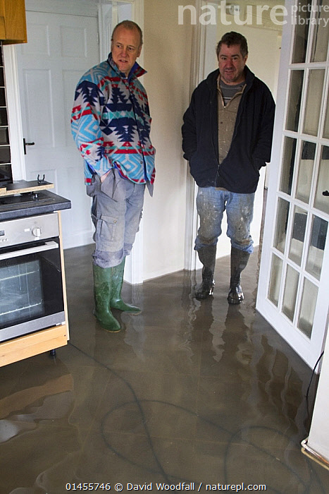 Man and neighbour in flooded cottage during February 2014, Upon upon Severn, Worcestershire, England, UK, 8th February 2014., PEOPLE,HUMAN,HUMANS,PERSON,PERSONS,MALES,MEN,EUROPE,WESTERN EUROPE,WEST EUROPE,UK,BRITAIN,GREAT BRITAIN,UNITED KINGDOM,ENGLAND,WORCESTERSHIRE,FLOODED,FLOODING,FLOODS,FLOODWATER,FLOODWATERS,WATER,WEATHER,INDOORS,INDOOR,ENVIRONMENT,ENVIRONMENTAL ISSUES,ENVIRONMENTAL ISSUE,GLOBAL WARMING,GREENHOUSE EFFECT,CLIMATE CHANGE, David  Woodfall
