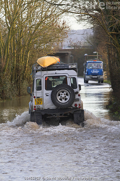 Landrover with kayak driving through water during the February 2014 floods, Gloucestershire, England, UK, 7th February 2014., EUROPE,WESTERN EUROPE,WEST EUROPE,UK,BRITAIN,GREAT BRITAIN,UNITED KINGDOM,ENGLAND,GLOUCESTERSHIRE,MODE OF TRANSPORT,VEHICLE,VEHICLES,LAND VEHICLE,LAND VEHICLES,MOTOR VEHICLE,AUTOMOTIVE,CAR,AUTOMOBILE,AUTOMOBILES,CARS,OFF ROAD VEHICLE,4X4,4X4S,FOUR BY FOUR,FOUR BY FOURS,JEEP,JEEPS,OFF ROAD VEHICLE,OFF ROAD VEHICLES,SPORTS UTILITY VEHICLE,SUV,SUVS,BOAT,BOATS,KAYAK,KAYAKS,FLOODED,FLOODING,FLOODS,FLOODWATER,FLOODWATERS,WATER,WEATHER,ENVIRONMENT,ENVIRONMENTAL ISSUES,ENVIRONMENTAL ISSUE,GLOBAL WARMING,GREENHOUSE EFFECT,OPEN BOAT,OPEN BOAT,OPEN BOATS,CLIMATE CHANGE, David  Woodfall