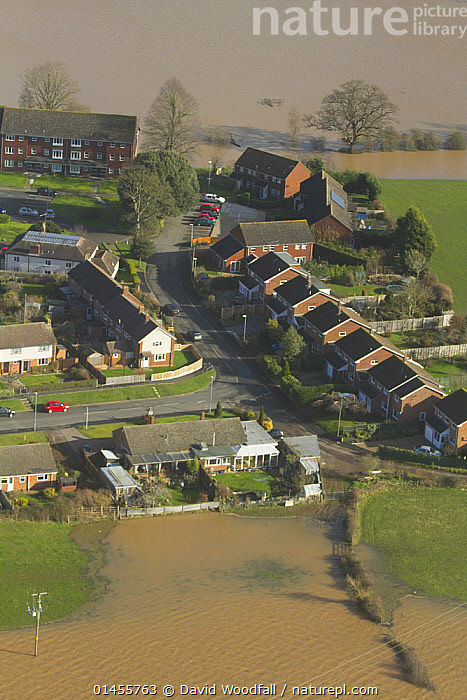 Upton upon Severn and flooding from River Severn, during February 2014 floods in Severn valley, Worcestershire, England, UK, 7th February 2014., EUROPE,WESTERN EUROPE,WEST EUROPE,UK,BRITAIN,GREAT BRITAIN,UNITED KINGDOM,ENGLAND,WORCESTERSHIRE,AERIAL VIEW,AERIAL SHOTS,AERIALS,BIRDS EYE VIEW,SETTLEMENT,SETTLEMENTS,TOWNS,FLOODED,FLOODING,FLOODS,FLOODWATER,FLOODWATERS,WATER,WEATHER,ENVIRONMENT,ENVIRONMENTAL ISSUES,ENVIRONMENTAL ISSUE,GLOBAL WARMING,GREENHOUSE EFFECT,CLIMATE CHANGE, David  Woodfall
