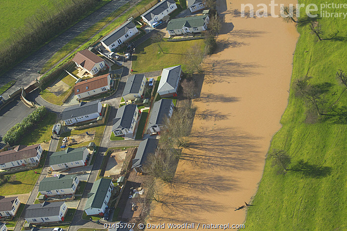 Park homes with flooding river, during February 2014 floods, Severn Valley, Worcestershire, England, UK, 7th February 2014., EUROPE,WESTERN EUROPE,WEST EUROPE,UK,BRITAIN,GREAT BRITAIN,UNITED KINGDOM,ENGLAND,WORCESTERSHIRE,AERIAL VIEW,AERIAL SHOTS,AERIALS,BIRDS EYE VIEW,BUILDINGS,HOUSES,BUNGALOWS,FLOODED,FLOODING,FLOODS,FLOODWATER,FLOODWATERS,WATER,FLOWING WATER,RIVER,RIVERS,WEATHER,ENVIRONMENT,ENVIRONMENTAL ISSUES,ENVIRONMENTAL ISSUE,GLOBAL WARMING,GREENHOUSE EFFECT,FRESHWATER,CLIMATE CHANGE, David  Woodfall