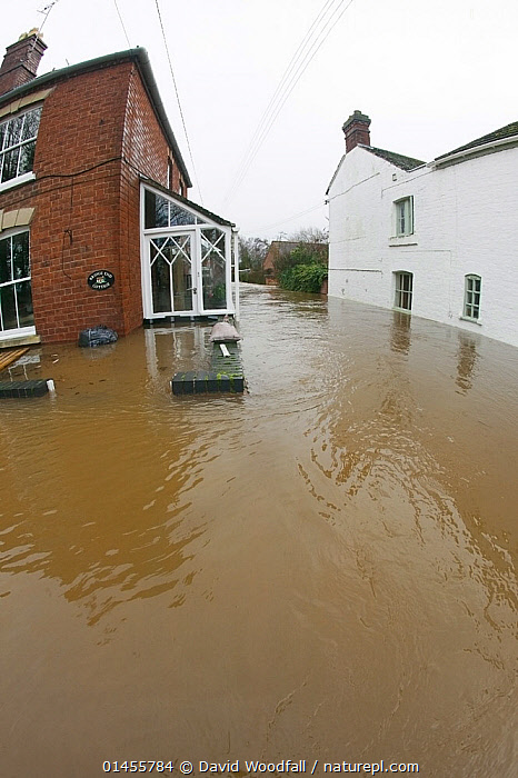 Fish eye view of flooded houses during the February 2014 floods at Upton upon Severn, Worcestershire, England, UK, 9th February 2014.  ,  EUROPE,WESTERN EUROPE,WEST EUROPE,UK,BRITAIN,GREAT BRITAIN,UNITED KINGDOM,ENGLAND,WORCESTERSHIRE,BUILDINGS,HOUSES,FLOODED,FLOODING,FLOODS,FLOODWATER,FLOODWATERS,WATER,WEATHER,ENVIRONMENT,ENVIRONMENTAL ISSUES,ENVIRONMENTAL ISSUE,GLOBAL WARMING,GREENHOUSE EFFECT,FISH EYE,FISH EYE,CLIMATE CHANGE  ,  David  Woodfall