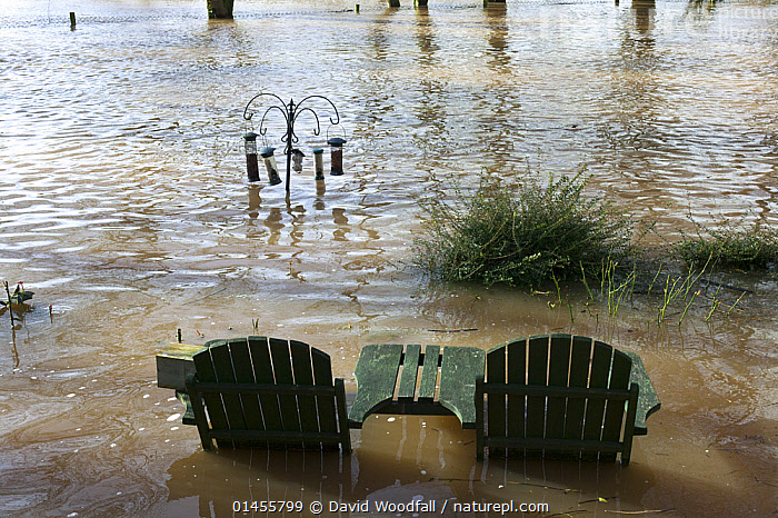 Garden table and chairs with bird feeders all flooded in garden from February 2014 River Severn flood , Upton upon Severn, Worcestershire, England, UK  ,  EUROPE,WESTERN EUROPE,WEST EUROPE,UK,BRITAIN,GREAT BRITAIN,UNITED KINGDOM,ENGLAND,WORCESTERSHIRE,FURNISHING,FURNISHINGS,FURNITURE,SEAT,SEATING,SEATS,CHAIR,CHAIRS,GARDEN CHAIR,GARDEN CHAIRS,GARDENS,FLOODED,FLOODING,FLOODS,FLOODWATER,FLOODWATERS,WATER,WEATHER,ENVIRONMENT,ENVIRONMENTAL ISSUES,ENVIRONMENTAL ISSUE,GLOBAL WARMING,GREENHOUSE EFFECT,CLIMATE CHANGE  ,  David  Woodfall