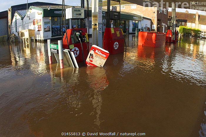 Petrol station flooded during the February 2014 floods, Upton upon Severn, Worcestershire, England, UK, 10th February 2014.  ,  EUROPE,WESTERN EUROPE,WEST EUROPE,UK,BRITAIN,GREAT BRITAIN,UNITED KINGDOM,ENGLAND,WORCESTERSHIRE,BUILDINGS,TERMINAL,TERMINALS,TRANSPORTATION BUILDING,GARAGE,GARAGES,GAS STATION,PETROL STATIONS,FLOODED,FLOODING,FLOODS,FLOODWATER,FLOODWATERS,WEATHER,ENVIRONMENT,ENVIRONMENTAL ISSUES,ENVIRONMENTAL ISSUE,GLOBAL WARMING,GREENHOUSE EFFECT,FISH EYE,FISH EYE,CLIMATE CHANGE  ,  David  Woodfall