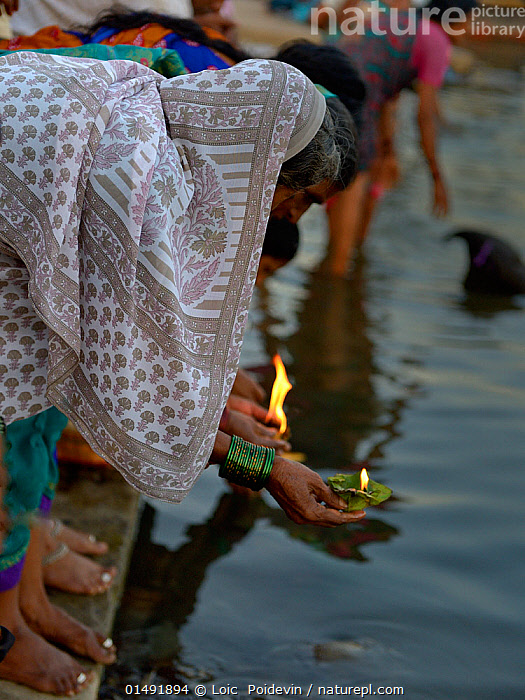 People placing lanterns on the river, an offering to the Ganges during religious festival. Varanasi, Uttah Pradesh, India, March 2014., PEOPLE,ASIAN,ASIANS,INDIAN SUBCONTINENT ETHNICITIES,INDIAN,INDIANS,FEMALE,WOMAN,ASIA,INDIAN SUBCONTINENT,INDIA,VERTICAL,LIGHTING,LANTERN,LANTERNS,FIRE,FLAME,FLOWING WATER,RIVER,RELIGION,EASTERN RELIGION,EASTERN RELIGIONS,HINDUISM,FRESHWATER,UTTAR PRADESH,SURFACE,VARANASI, Loic  Poidevin