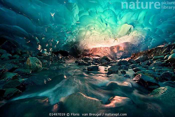 Ice cave with melt water running through, Mendenhall Glacier, Juneau, Alaska, USA, August 2014.  ,  catalogue7,American,Eroding,Atmospheric Mood,Atmospheric,Bizarre,Weird,Fragility,Fragile,Magic,Magical,Motion,Active,Movement,Spirituality,Mystical,Spiritual,Colour,Blue,Turquoise,Aqua,Aqua Blue,Torquoise,Nobody,Dark,Darkness,Wet,North America,USA,Western USA,Alaska,Juneau,Interior,Inside Views,Interior Space,Interior Spaces,Interior View,Interior Views,Interiors,Photographic Effect,Blurred Motion,Blurred Movement,Cave,Rock,Flowing Water,Ice,Glacier,Glacial,Glaciers,Indoors,Beautiful,Pretty,Environment,Environmental Issues,Global Warming,Greenhouse Effect,Nature,Natural,Natural World,Beauty In Nature,Freshwater,Water,Climate change,Glacial water,Running Water,Lit Up,American,Blue Colour,Ice Cave,Mendenhall Glacier  ,  Floris  van Breugel