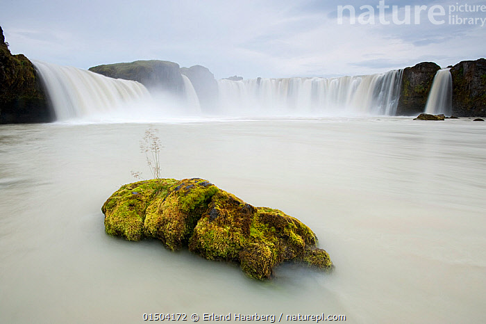 Godafoss waterfalls on the Skjalfandi river, Iceland, September.  ,  Europe,Northern Europe,North Europe,Nordic Countries,Scandinavia,Iceland,Flowing Water,Waterfall,Cascade,Cascades,Waterfalls,Landscape,Landscapes,Freshwater,Water  ,  Erlend  Haarberg