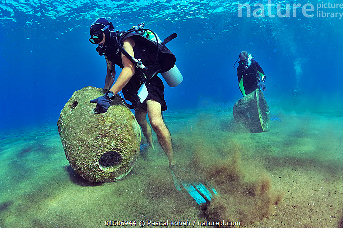 Divers are setting up concrete reef balls to build an artificial reef, Philippines, Sulu Sea. August 2014.  ,  Diving,Underwater Diving,Scuba Diving,People,Asia,South East Asia,Republic of the Philippines,Tropical,Reef,Reefs,Coral Reef,Coral Reefs,Ocean,Pacific Ocean,Marine,Underwater,Water,Conservation,Indo Pacific,Saltwater,Sea,Biodiversity hotspots,Biodiversity hotspot,Tropics,Philippines,Nature taking over,Sulu Sea,Artificial Reef,Nature reclamation  ,  Pascal Kobeh