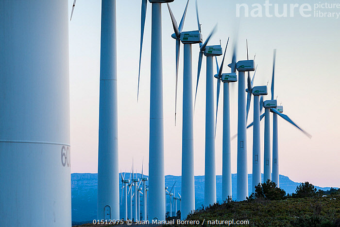 Wind turbines, Collet dels Feixos, Tarragona, Catalonia, Spain, May 2013.  ,  catalogue8,,,Row,Group,Medium Group,Nobody,Europe,Southern Europe,Iberian Peninsula,Spain,Catalonia,Diminishing Perspective,Photographic Effect,Blurred Motion,Blurred Movement,Equipment,Power Equipment,Turbine,Turbines,Wind Turbine,Wind Generator,Wind Generators,Wind Turbines,Outdoors,Open Air,Outside,Day,Environment,Environmental Issues,Power supply,Sustainable power,Wind power,Energy,Renewable,Wind energy,Sustainability,Medium Group of Objects,Progression,Lined up,Tarragona,Collet dels Feixos,  ,  Juan Manuel Borrero