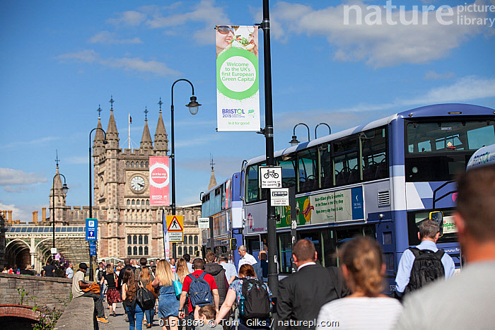 Banners for Bristol European Green Capital 2015 in front of Bristol Temple Meads train station, Bristol, England, UK. August 2015.  ,  People,Europe,Western Europe,UK,Great Britain,England,Bristol,Flag,City,Building,Station,Stations,Train Station,Land Vehicle,Motor Vehicle,Bus,Buses,Environment,Environmental Issues,Green issues  ,  Tom  Gilks