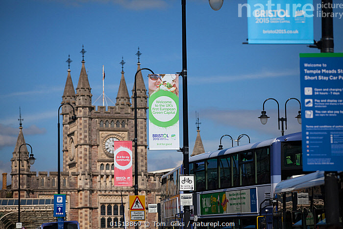 Banners for Bristol European Green Capital 2015 in front of Bristol Temple Meads train station, Bristol, England, UK. August 2015.  ,  Europe,Western Europe,UK,Great Britain,England,Bristol,Flag,City,Building,Station,Stations,Train Station,Land Vehicle,Motor Vehicle,Bus,Buses,Environment,Environmental Issues,Green issues  ,  Tom  Gilks