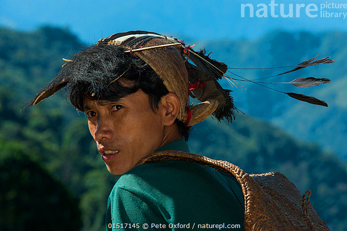 Nyshi man, Arunachal Pradesh, North East India, November 2014., high15,,,Carries,Carry,People,Asian Ethnicity,Asian,Asians,Indian Ethnicity,Indian,Adult,Adults,Young Adult,Young Adults,Young People,Young Person,Man,Only Men,One Man,Real People,Traditional,1 Person,Single,Single Person,Distracted,Asia,Indian Subcontinent,India,Portrait,Animal,Feather,Feathers,Bag,Clothing,Headdress,Hat,Hats,Traditional Clothing,Mountain,Outdoors,Open Air,Outside,Day,Culture,Indigenous Culture,Tribes,Local people,Arunachal Pradesh,Carrying on back,, Pete Oxford
