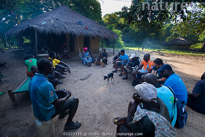 Local people gathered for education program to conserve the wildlife of the Bissagos Islands including the endangered Green turtle (Chelonia mydas) Bissagos Islands, Guinea Bissau, October 2014. 3rd Place in the SOS Especes Menacees / SOS Endangered Species Portfolio category of the Terre Sauvage Nature Images Awards Competition 2015., high15,,Animal,Vertebrate,Reptile,Testitudine,Sea turtles,Green turtle,Canis familiaris,Animalia,Animal,Wildlife,Vertebrate,Reptilia,Reptile,Chelonii,Testitudine,Cheloniidae,Sea turtles,Turtle,Chelonia,Chelonia mydas,Green turtle,Testudo mydas,Testudo cepediana,Chelonia lachrymata,Sitting,People,African Descent,Man,Community,Communities,Information,Togetherness,Close,Together,Group,Group Of People,Large Group Of People,Many,Shape,Shapes,Circle,Africa,West Africa,Guinea-Bissau,Republic of Guinea-Bissau,Award,Awards,Prize,Prizes,Building,Residential Structure,House,Houses,Hut,Huts,Outdoors,Open Air,Outside,Day,Education,Educational,Domestic animal,Pet,Conservation,Domestic Dog,Competition winner,Canis familiaris,Wildlife conservation,Dog,Local people,West African,Mammal,Bijagos Archipelago,Photography award,Empowerment,Endangered species,threatened,Endangered, Pedro  Narra