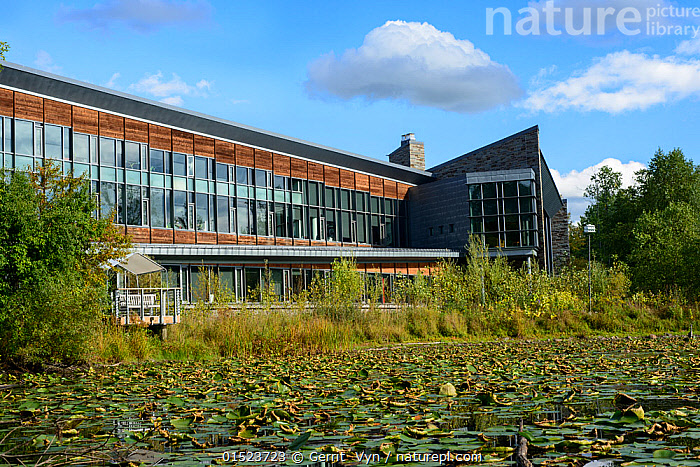Cornell Lab of Ornithology headquarters, Sapsucker Woods, New York, USA, September 2012.  ,  American,Bird Watching,Birdwatching,Ornithology,North America,USA,Eastern USA,Mid-Atlantic US,New York,Building,Place Of Work,Workplace,Office,Offices,Workspace,Conservation,Wildlife watching,Conservation organisation,American,  ,  Gerrit  Vyn