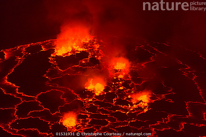 Lava Lake at night in the crater of Nyiragongo Volcano, Virunga National Park, North Kivu Province, Democratic Republic of Congo. September 2015., Danger,Colour ,Red,Pattern,Temperature,Hot,Africa,Central Africa,Democratic Republic of the Congo,Craters,Mountain,Volcano,Rock,Lava,Night,Reserve,Geology,Geothermal,Protected area,National Park,Virunga National Park,DRC,Extreme,Mountainous,Mountains,Volcanoes,Volcanos,Rocks,Reserves,National parks,Colours,Colors,Nights,high16, Christophe Courteau
