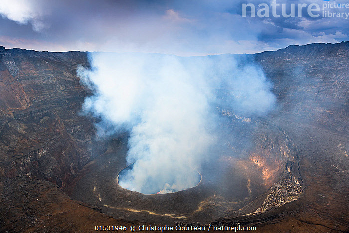 Steam rising from the crater of Nyiragongo Volcano. Virunga National Park, North Kivu Province, Democratic Republic of Congo. September 2015.  ,  Africa,Central Africa,Democratic Republic of the Congo,Craters,Mountain,Volcano,Steam,Steaming,Landscape,Water,Reserve,Geology,Geothermal,Protected area,National Park,Virunga National Park,DRC,Mountainous,Mountains,Volcanoes,Volcanos,Landscapes,Reserves,National parks, catalogue9  ,  Christophe Courteau