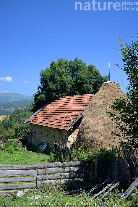 Traditional cottage and haystack in mountain village, near Foca, Bosnia and Herzegovina, July 2014.  ,  Traditional,Europe,Southern Europe,Bosnia And Herzegovina,Hay,Haystack,Haystacks,Building,Residential Structure,House,Houses,Cottage,Cottages,Farmhouse,Farmhouses,Protected area,  ,  Nick Upton