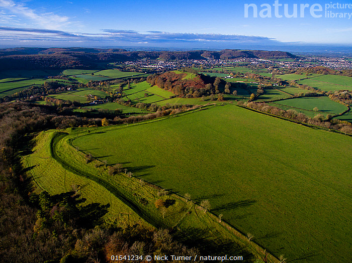 Uley Bury iron-age hill fort on Cotswold escarpment, defensive ditches still visible. Gloucestershire, UK.  Aerial drone with CAA permit. November 2015.  ,  Flat,Sloping,Europe,Western Europe,UK,Great Britain,England,Gloucestershire,Cotswolds,Aerial View,High Angle View,Building,Military Building,Fortification,Fortifications,Fortress,Fortresses,Fort,Forts,Landscape,Landscapes,History,Countryside,Elevated view,The Past,Escarpment,Iron Age,Hill Fort,Cotswolds AONB,  ,  Nick Turner