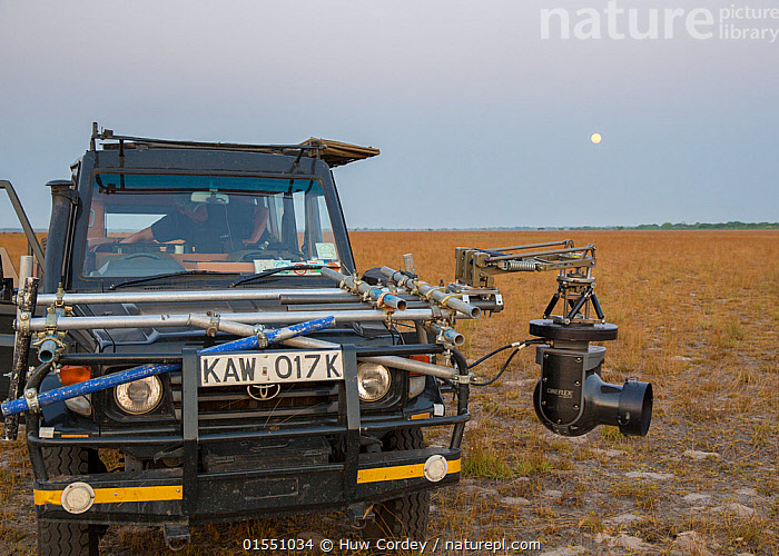 Cineflex on  4WD vehicle, camera rig. On location to film The Hunt. Liuwa National Park, Zambia. October 2013.  ,  Capturing An Image,Filming,People,Camera Operators,Cameramen,Africa,East Africa,Zambia,Land Vehicle,Technology,Reserve,Protected area,National Park,Cameraman,  ,  Huw Cordey
