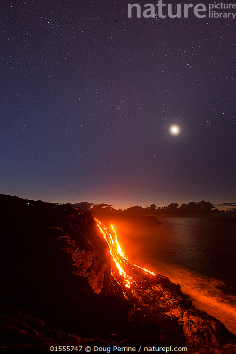 Hot  lava from the 61G flow, emanating from Pu'u O'o on Kilauea Volcano, flows over sea cliffs into the ocean under the stars and moon, Kamokuna, Kalapana, Hawaii Volcanoes National Park, Puna, Hawaii, USA, July 2016, American,Pouring,Pour,Tipping,Erupting,Molten,Temperature,Hot,North America,USA,Hawaii,Hawaii Islands,Vertical,Island,Islands,Volcano,Moon,Stars,Rock,Volcanic Rocks,Lava,Ocean,Pacific Ocean,Landscape,Night,Marine,Water,Reserve,Geology,Volcanic features,Saltwater,Geothermal,Protected area,National Park,American,Kilauea,Hawaii Volcanoes National Park,Big Island,United States of America,Eruptions,Volcanoes,Volcanos,Rocks,Landscapes,Oceans,Reserves,National parks,Nights,American,high16, Doug Perrine