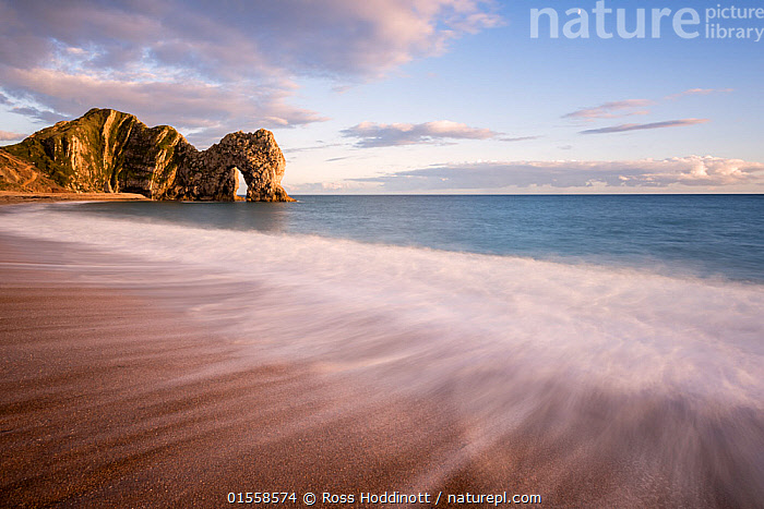 RF - Durdle Door in golden evening light, The Isle of Purbeck, Dorset, UK. September . (This image may be licensed either as rights managed or royalty free.)  ,  Nobody,Europe,Western Europe,UK,Great Britain,England,Dorset,Photographic Effect,Blurred Motion,Blurred Movement,Horizon,Horizon Over Water,Peninsula,Promontory,Rock Formations,Arch,Arches,Rock,Tide,Tides,Water's Edge,Wave,Outdoors,Day,Coast,Marine,Coastal,Water,Geology,Saltwater,Sea,Shingle,Isle of Purbeck,RF,Royalty free,RFCAT1,RF17Q1,,,Dorset and East Devon Coast, UNESCO World Heritage Site,  ,  Ross Hoddinott