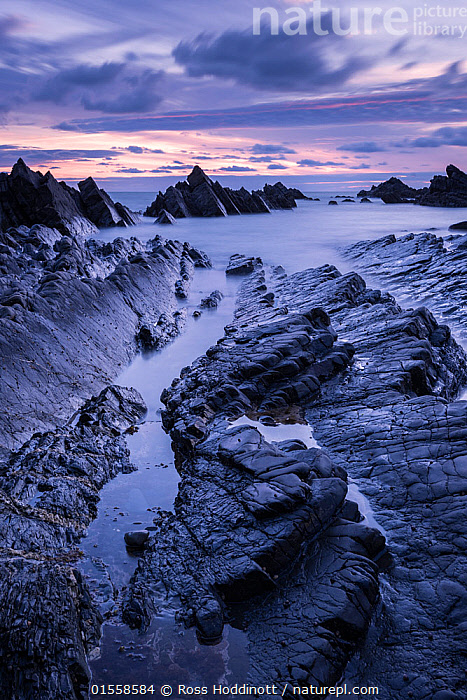 RF - Hartland Quay, late evening light, Hartland, Devon, UK. July . (This image may be licensed either as rights managed or royalty free.)  ,  Eroding,Nobody,Dark,Jagged,Craggy,Europe,Western Europe,UK,Great Britain,England,Devon,Outdoors,Twilight,Evening,Coast,Marine,Tidepool,Coastal,Water,Saltwater,Sea,Intertidal,Littoral,View to sea,RF,Royalty free,RFCAT1,RF17Q1,Hartland,Hartland Quay,  ,  Ross Hoddinott
