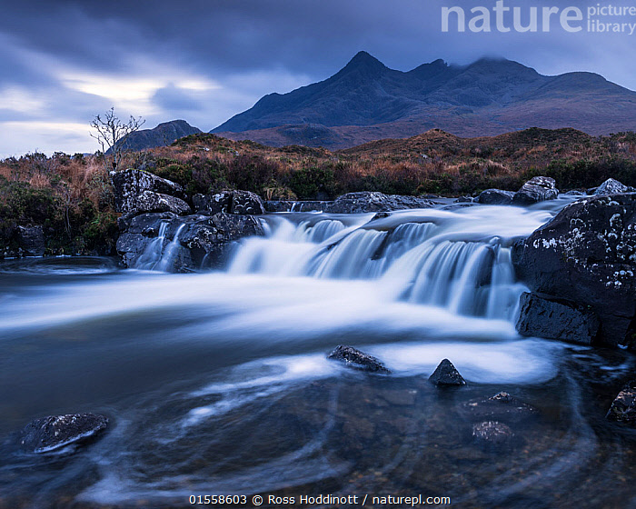 RF - The River Sligachan with the Cuillin mountains behind, Isle of Skye, Scotland, UK. November . (This image may be licensed either as rights managed or royalty free.)  ,  Mood,Ominous,Foreboding,Nobody,Europe,Western Europe,UK,Great Britain,Scotland,Photographic Effect,Blurred Motion,Blurred Movement,Mountain,Flowing Water,River,Landscape,Outdoors,Winter,Day,Countryside,Freshwater,Water,Hebrides,Inner Hebrides,Skye,Scottish islands,Scottish isles,Isle of Skye,Pool,Running Water,RF,Royalty free,RFCAT1,RF17Q1,  ,  Ross Hoddinott