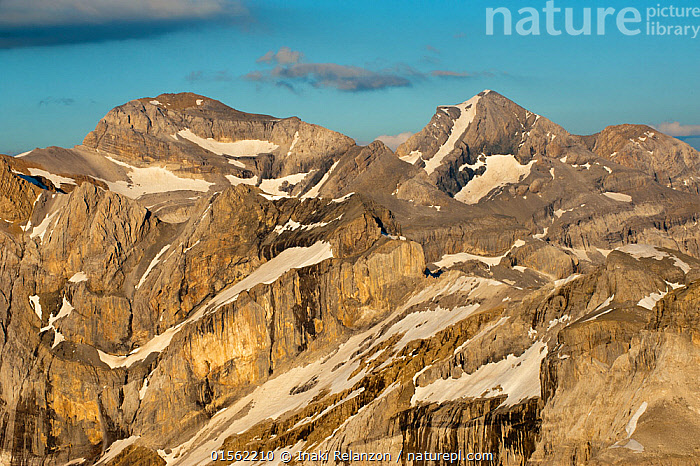 RF - Monte Perdido limestone massif, the european bigest limestone massif. Ordesa National Park, Aragon, Spain. (This image may be licensed either as rights managed or royalty free.)  ,  Nobody,Jagged,Craggy,Snowcapped,Europe,Southern Europe,Spain,Aragon,High Angle View,Rock,Limestone,Snow,Outdoors,Day,Reserve,Protected area,National Park,Elevated view,Ordesa National Park,Unfriendly,Massif,RF,Royalty free,RFCAT1,RF17Q1,,,UNESCO World Heritage Site,  ,  Inaki  Relanzon