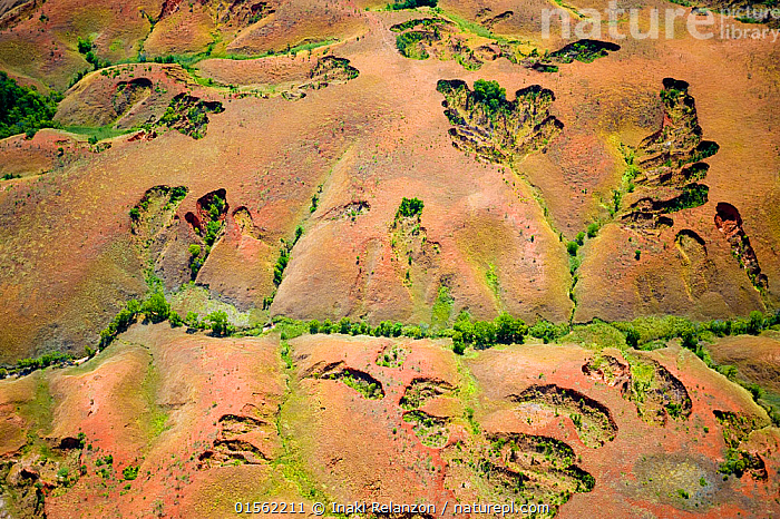 RF - Aerial view of soil erosion due to deforestation, central Madagascar. (This image may be licensed either as rights managed or royalty free.)  ,  Eroding,Age,Nobody,Pattern,Natural Pattern,Africa,Madagascar,Malagasy Republic,Republic of Madagascar,Full Frame,Aerial View,High Angle View,Hill,Soil,Dirt,Outdoors,Day,Backgrounds,Biodiversity hotspots,Biodiversity hotspot,Elevated view,RF,Royalty free,RFCAT1,RF17Q1,  ,  Inaki  Relanzon