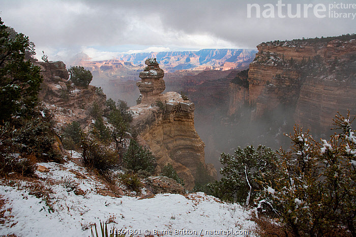 Snow at Grand Canyon, Arizona, USA, November 2016., Canyons,Cliff,Sky,Cloud,Snow,Landscape,Winter,Reserve,Geology,Protected area,National Park,Landform,, Barrie Britton