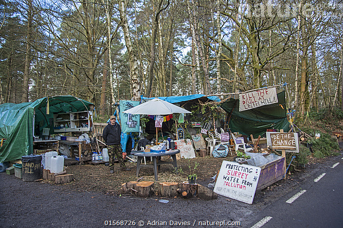 Oil drilling and fracking Protest Camp, Leith Hill, Surrey, UK. March, 2017  ,  Campaign,Campaigning,Protests,Rally,Rallies,Europe,Western Europe,UK,Great Britain,England,Surrey,Information,Banner,Banners,Placards,Fossil Fuel,Oil,Natural Gas,Natural Gases,Petroleum Fuel,Petroleum Fuels,Environment,Environmental Issues,Power supply,Energy,Direct action,Demonstration,Demonstrations,Fracking,  ,  Adrian Davies