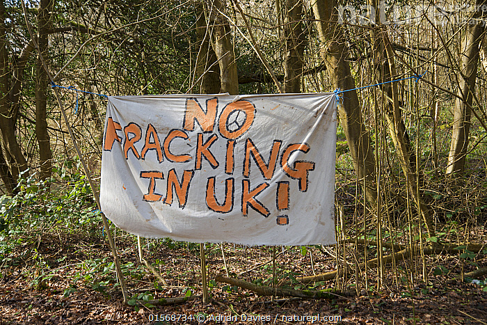 No Fracking in UK sign at Oil Drilling and Fracking Protest Camp, Leith Hill, Surrey, UK. March, 2017  ,  Campaign,Campaigning,Protests,Rally,Rallies,Europe,Western Europe,UK,Great Britain,England,Surrey,Information,Banner,Banners,Placards,Fossil Fuel,Oil,Natural Gas,Natural Gases,Petroleum Fuel,Petroleum Fuels,Environment,Environmental Issues,Power supply,Energy,Direct action,Demonstration,Demonstrations,Fracking,  ,  Adrian Davies