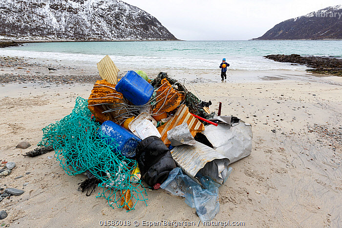 Child gathering marine pollution from beach, Troms, Norway, May 2017. Winner of the Threatened Nature category of the Nordic Nature Photo Contest (NNPC) 2018. Model released.  ,  People,Child,Waste,Europe,Northern Europe,North Europe,Nordic Countries,Scandinavia,Norway,Tromso,Troms,Man Made Material,Plastic,Plastics,Environment,Environmental Issues,Environmental Damage,Coast,Coastal,Conservation,Littering,Marine Pollution,,,catalogue11  ,  Espen Bergersen
