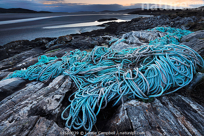 Discarded plastic rope and commercial fishing netting washed up on shore at Luskentyre, South West Harris, Western Isles / Outer Hebrides, Scotland, May 2016, Waste,Europe,Western Europe,UK,Great Britain,Scotland,Outer Hebrides,Fishing Net,Fishing Nets,Net,Nets,Netting,Rope,Cords,Man Made Material,Plastic,Plastics,Ocean,Atlantic Ocean,Environment,Environmental Issues,Environmental Damage,Coast,Marine,Coastal,Water,Saltwater,Littering,Hebrides,Scottish islands,Scottish isles,Marine Pollution,,, catalogue11, Laurie  Campbell