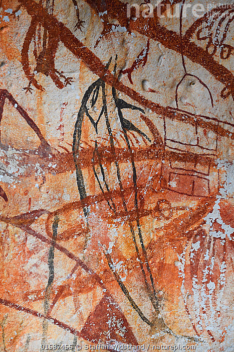Ancient rock art paintings, from cave that caved in and exposed them to the light of day, Raja Ampat, Western Papua, Indonesian New Guinea, Oceania,Melanesia,New Guinea,Art,Cave,Rock,History,Indonesia,Rock art,Prehistoric,The Past,, Staffan Widstrand