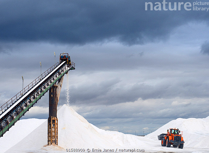 Salt processing by machinery, Spain, October., Europe,Southern Europe,Spain,Condiment,Condiments,Salt,Building,Industrial Building,Industrial Facility,Food Processing Plant,Food Processing Plants,Processing,Mineral,Minerals,Sky,Cloud,Harvesting,,, catalogue11, Ernie  Janes