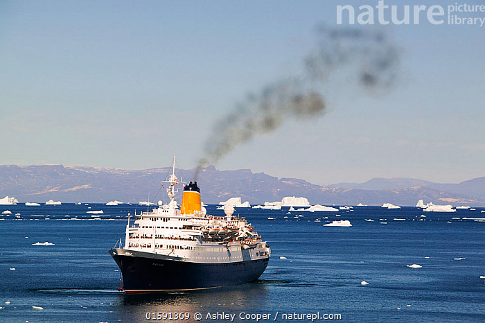 Cruise ship off Illulisat,  Greenland, July 2008.  ,  climate change,global warming,Greenland,Arctic,Illulissat,Unesco world heritage site,landscape,iceberg,coast,sea,arctic ocean,summer,Illulissat ice fjord,sermeq kujalleq,boat,harbour,Inuit,Jacobshaven,Jacobshaven glacier,isbrae,fjord,cruise,cruise ship,ship,tour,tourism,holiday,Arctic circle,deck,steel,level,red,colourful,ocean liner,luxury,fumes,pollution,exhaust,diesel fumes,marine diesel,carbon footprint,C02,carbon emissions,emissions,air quality,,,,  ,  Ashley Cooper