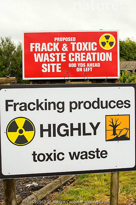 Protest banner against fracking at a farm site at Little Plumpton near Blackpool, Lancashire, UK, where the council for the first time in the UK, has granted planning permission for commercial fracking for shale gas, by Cuadrilla. August 2014.  ,  fracking,frack,gas,shale gas,energy,power,drilling,protest,banner,anti,camp,protest camp,environment,environmentalist,green,politics,planning permission,Lancashire,UK,Fylde,Blackpool,Little Plumpton,farmland,colourful,protesting,campaign,climate change,global warming,pollution,destruction,health,future,yellow,toxic,toxic waste,,,,  ,  Ashley Cooper