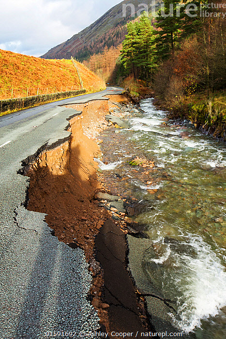The A591, the main road through the Lake District, completely destroyed by the floods from Storm Desmond, Cumbria, UK. Taken on Sunday 6th December 2015. England, UK, December 2015.  ,  Floods,flooding,flooded,Cumbria,Lake District,UK,weather,extreme weather,climate change,global warming,deluge,torrential rain,downpour,meteorology,low pressure,weather front,rain,raining,heavy rain,precipitation,flood waters,river,Dunmail Raise,A591,road,swept away,undermined,flood damage,road closed,power,,,,,, catalogue11  ,  Ashley Cooper